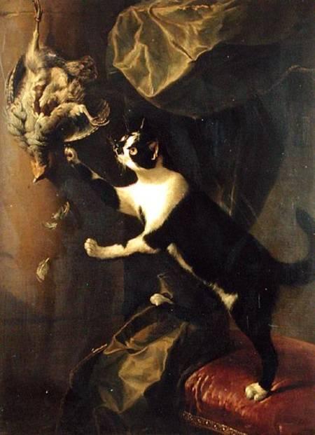Cat and Dead Game Oil on Canvas Alexander Francoise Desportes Private Collection, Perronneau, Crespi, Desportes