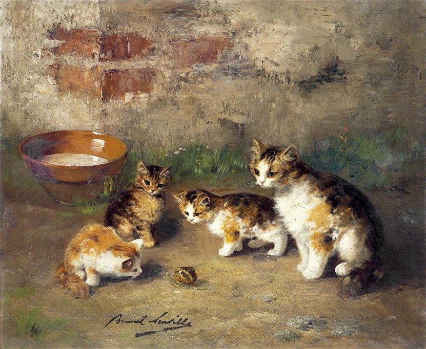 Cats with a Snail Brunel de Neuville