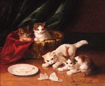Four Cats and an Empty Plate Arthur Brunel de Neuville
