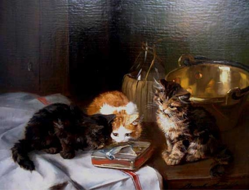 Three Kittens with Sardines - Brunel de Neuville