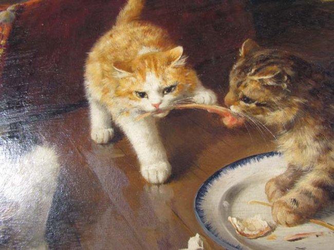 Two Kittens Fighting over a Bone Brunel de Neuville