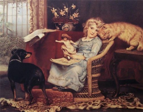 Playing with Dog and Cat victorian pet paintings