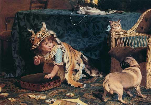 Charles Burton Barber Monster child and kitten in art