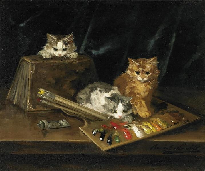 Drei Katzen mit Farb Palette (Three Cats with a Color Palette) Brunel de Neuville