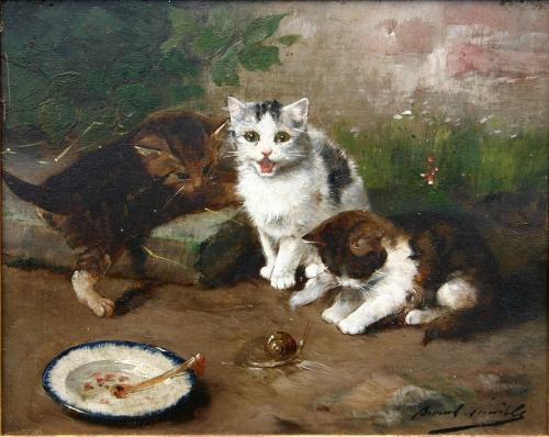 Three Kittens and a Snail Brunel de Neuville