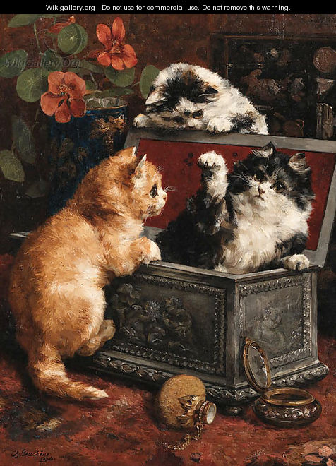 Cats Charles Van den Eycken oil on canvas private collection