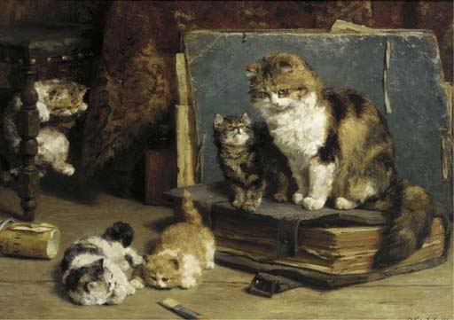 Mother and Four Kittens, Charles Van den Eycken Private Collection