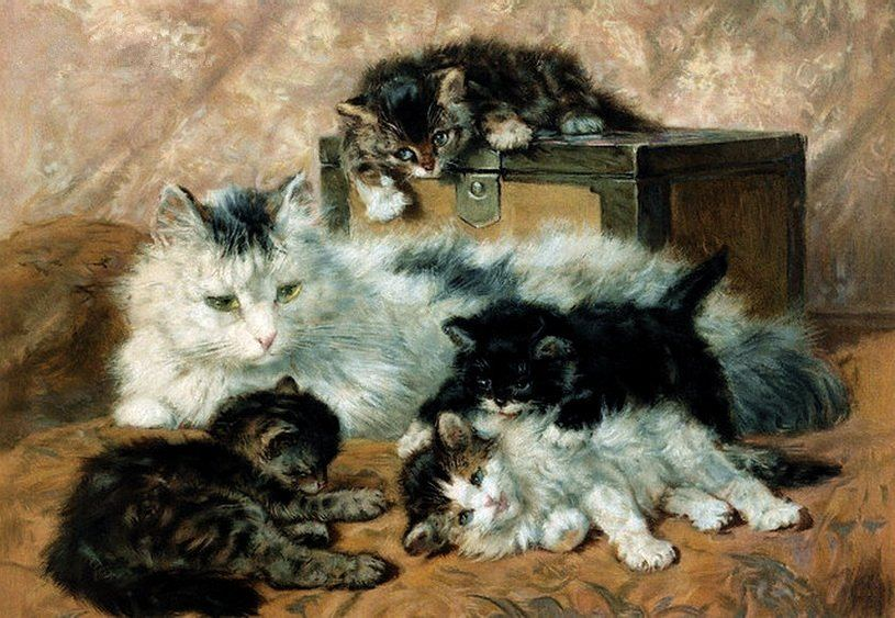 Mother and Kittens, Charles Van den Eycken Private Collection