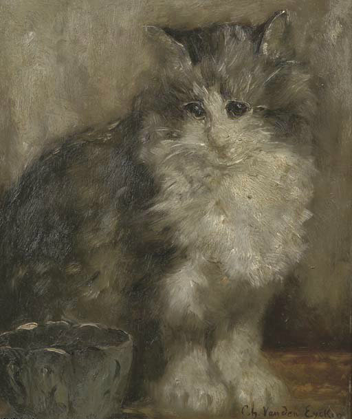 The Contented Cat, Charles Van den Eycken Private collection