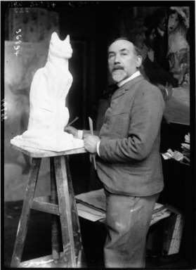 Theophile-Alexandre Steinlen Sculpting a Cat Photo by Agence Meurisse