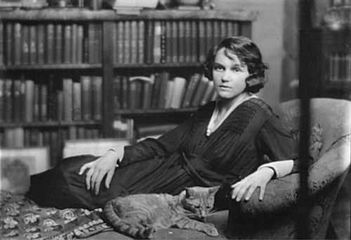 Miss Helen Chamberlain with Buzzer the Cat 1918
