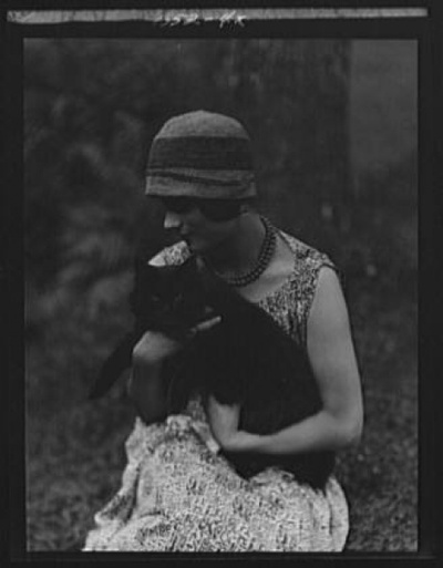 Dancer Elizabeth Duncan (sister of Isadora) with Buzzer the Cat