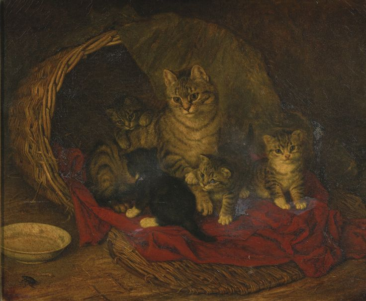 FRANK PATON 1856 - 1909 CAT AND KITTENS