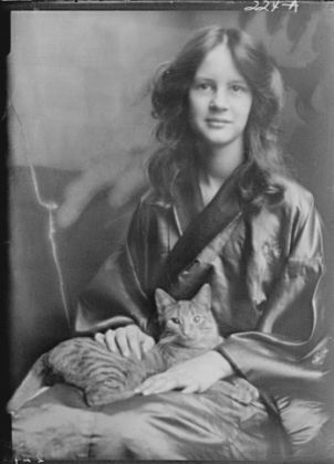 Jocelyn Stebbins (Mrs. Fletcher) with Buzzer the Cat