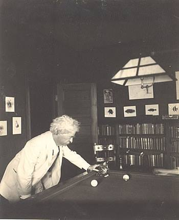 Mark Twain and Kitten Playing Billiards