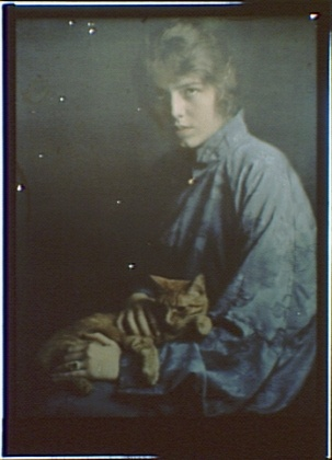 Unknown Woman with Buzzer the Cat