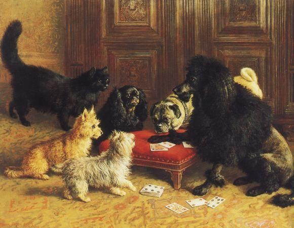 Poodle Card Game 1885 Private Collection cats in paintings