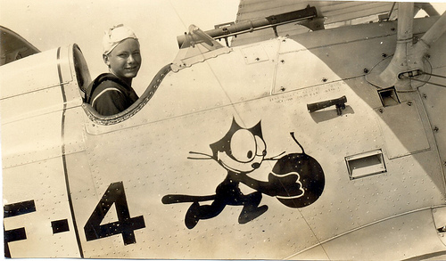 Felix the cat on F-4 airplane