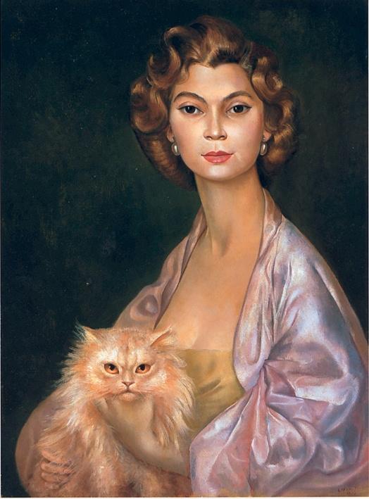 Leonor Fini - Portrait de la Princesse Nawal Toussoun (1952) cats