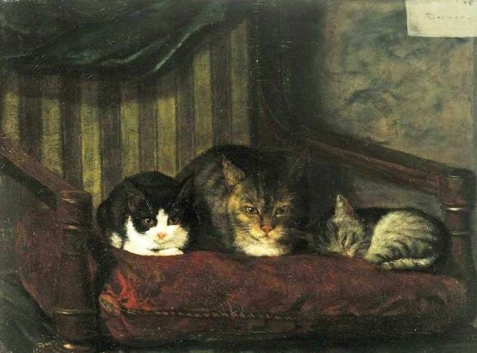 Adolf von Becker (Finnish, 1831-1909) Cat and Kittens 1863