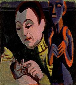 Kirchner Portrait of Erna with a Cat, cats in art