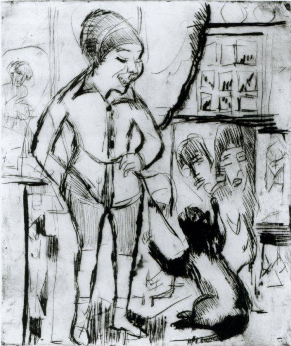 Kirchner Bube mit Katze im Wohnzimmer 1925