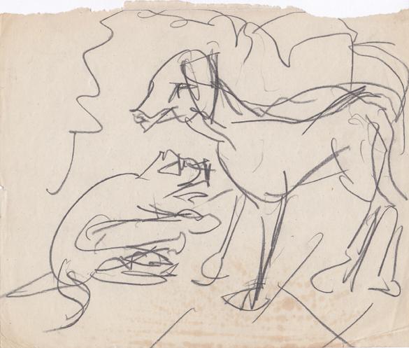 Kirchner Katze und Hund Cat and Dog