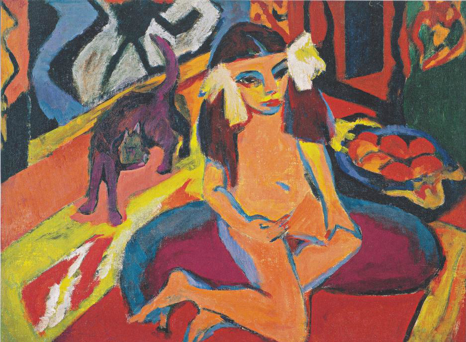 Kirchner Girl with a Cat, Franzi, Bobby, cats in art, cats in paintings