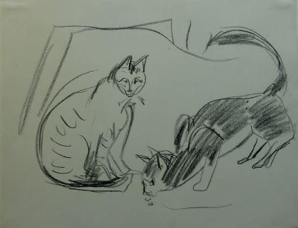 Kirchner Sitzende und Spielende Katzen Sitting and Playing Cats
