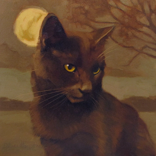 Brooding Coco, cats in art, Diane Hoeptner cat paintings
