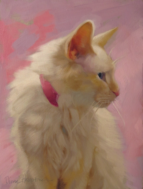 Pretty on PInk, cats in art, cat paintings