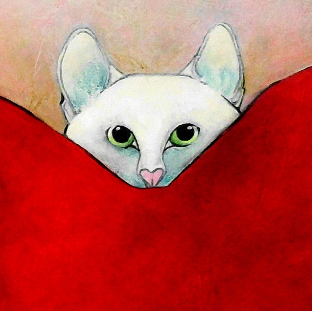 Tiny Hiding Carla Raadsveld, cat art