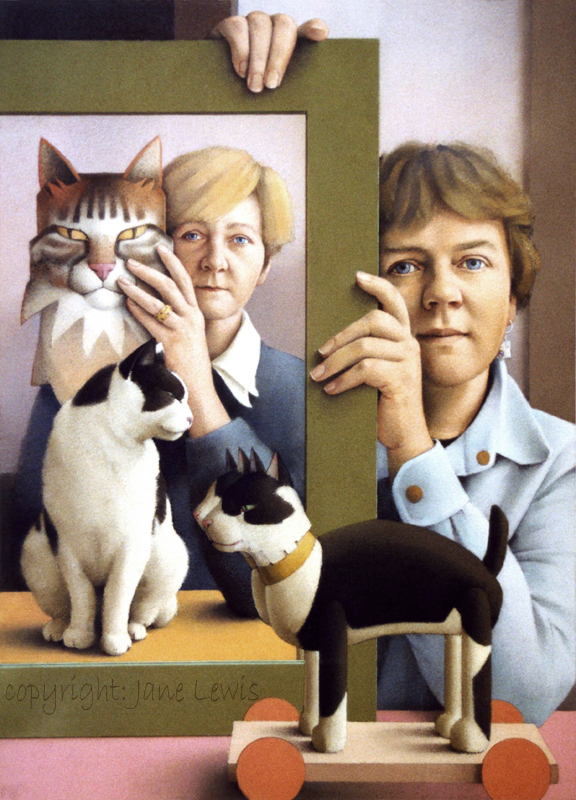 Jane Lewis, Double Portrait, cat paintings, cats in art