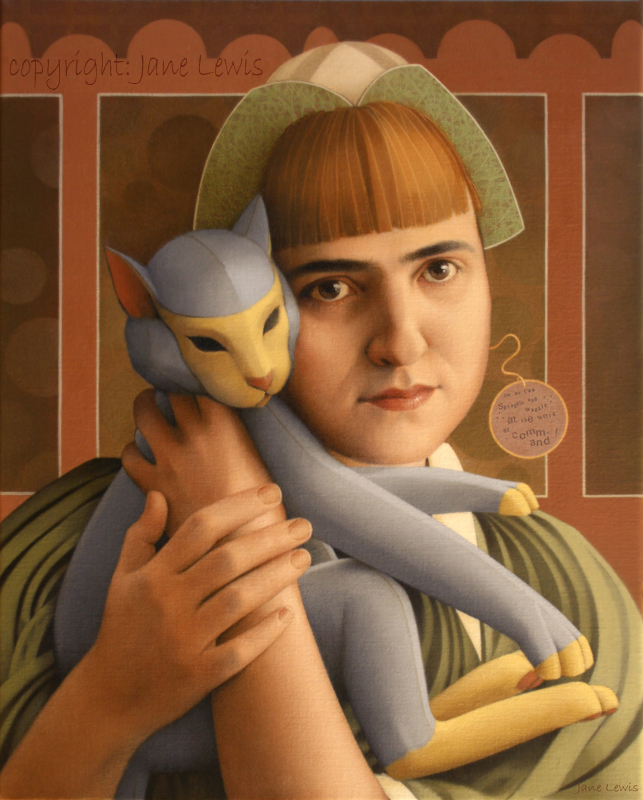 Jane Lewis, Girl with Toy Cat, art cats, cat paintings