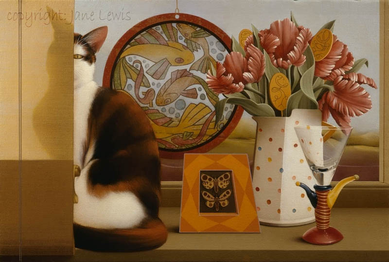 Jane Lewis, Menagerie, cats in art