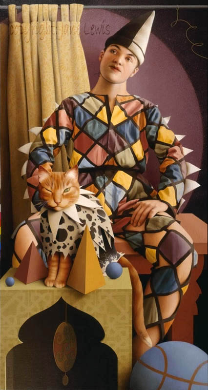 Jane Lewis, The Harlequin's Cat, Cats in paintings