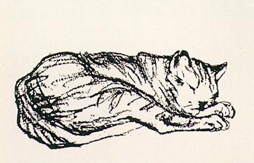 Franz Marc Cat Lying Down Sketch
