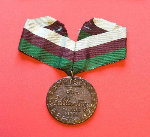 Simon's PDSA Dickin Medal. Photos courtesy of Eaton Film Company who bought it in 1993,