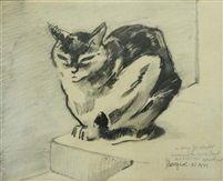 Chat couché by Jacques Lehmann Nam