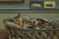 Chat endormi dans son panier , chats, art cats, cats in art
