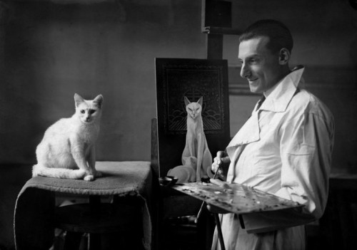 Nam, a specialist in cat portraits, produced a lacquered painting of a poised and sophisticated Mikette in 1924