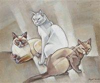 Three Cats, Siamese cats in art, J L Nam