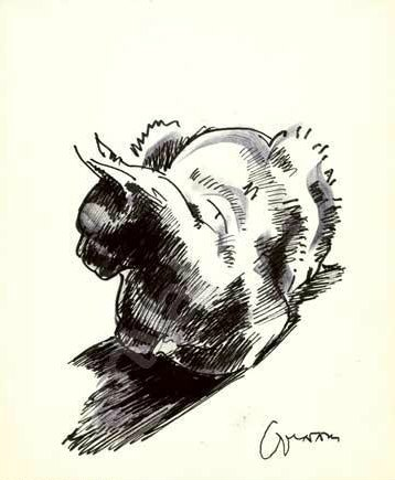 Chat assis, seated cat, cat sketch Lehmann Nam