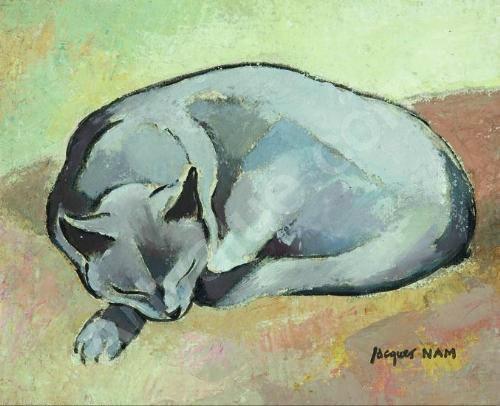 Chat Endormi, sleeping cat, jl nam, cat watercolor