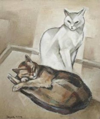 White and Brown Cat, Nam, cats in art