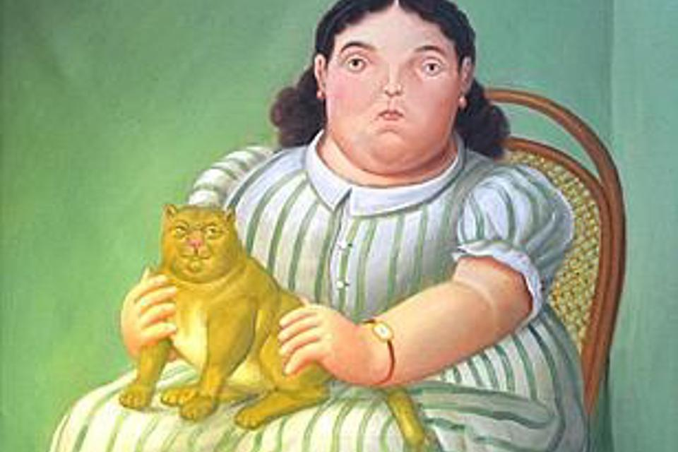Fernando Botero, Seated Woman with a Cat 1955, detail