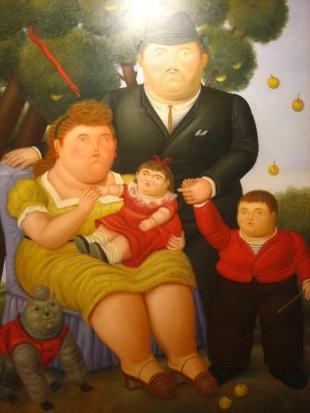 F. Botero The Family and cat, cat paintings