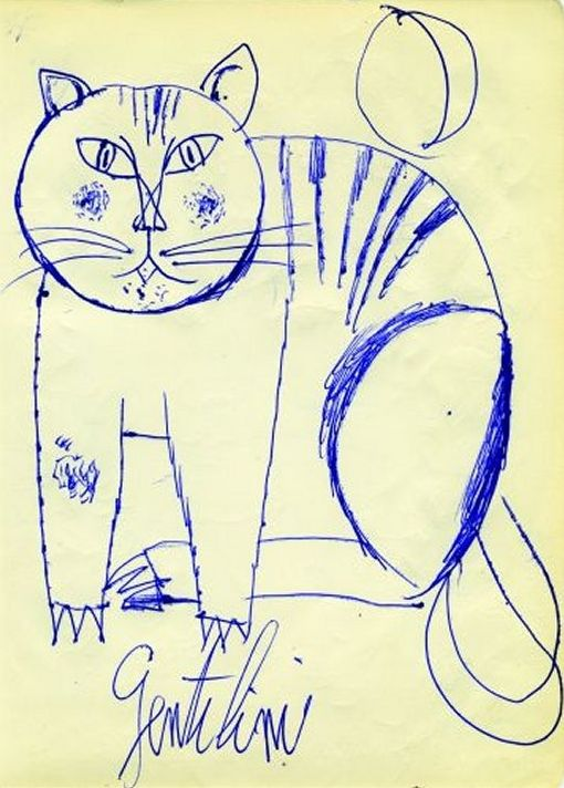 Gatto, 1956 by Franco Gentilini (Italian 1909 – 1981), cats in paintings, cats in art