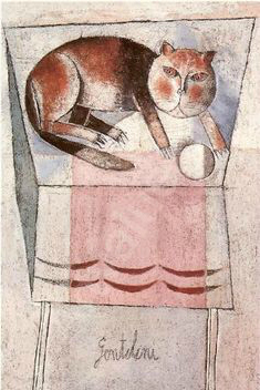 Gentilini cat on a table with ball
