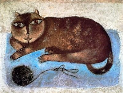 Cat and Ball of yarn, cats in art, cat and Gentilini